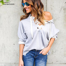 Duclemosa Fashion Spring Cross Straps Woman Blouses Long Sleeve Gray Color Cap Shirts