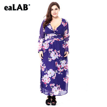 eaLAB big size women summer dress plus size printing blue clothes lace L-6X SQ0070-1