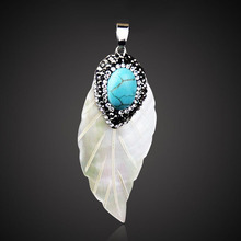 LAKONE Fashion Shell Angel Wings  / leaves / round With Paved Crystal Stone Pendants For Women Man Jewelry Making DIY Necklace