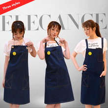 Hot Sale Woman Fashion Cotton Denim Apron Stylish Cafe Bar Painting Denim Antifouling Apron Uniforms(China)