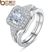 BAMOER Silver Color Square Shape Ring Sets Princess Cut Stamp for Women Pave AAA Zircon Stone Wedding Jewelry YIR047(China)