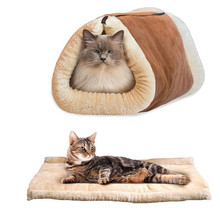 2-in-1 Removable Zip Cat Pet Bed Tunnel Fleece Tube Dog Puppy Kitten Indoor Cushion Mat Kennel Cage Shack House T35