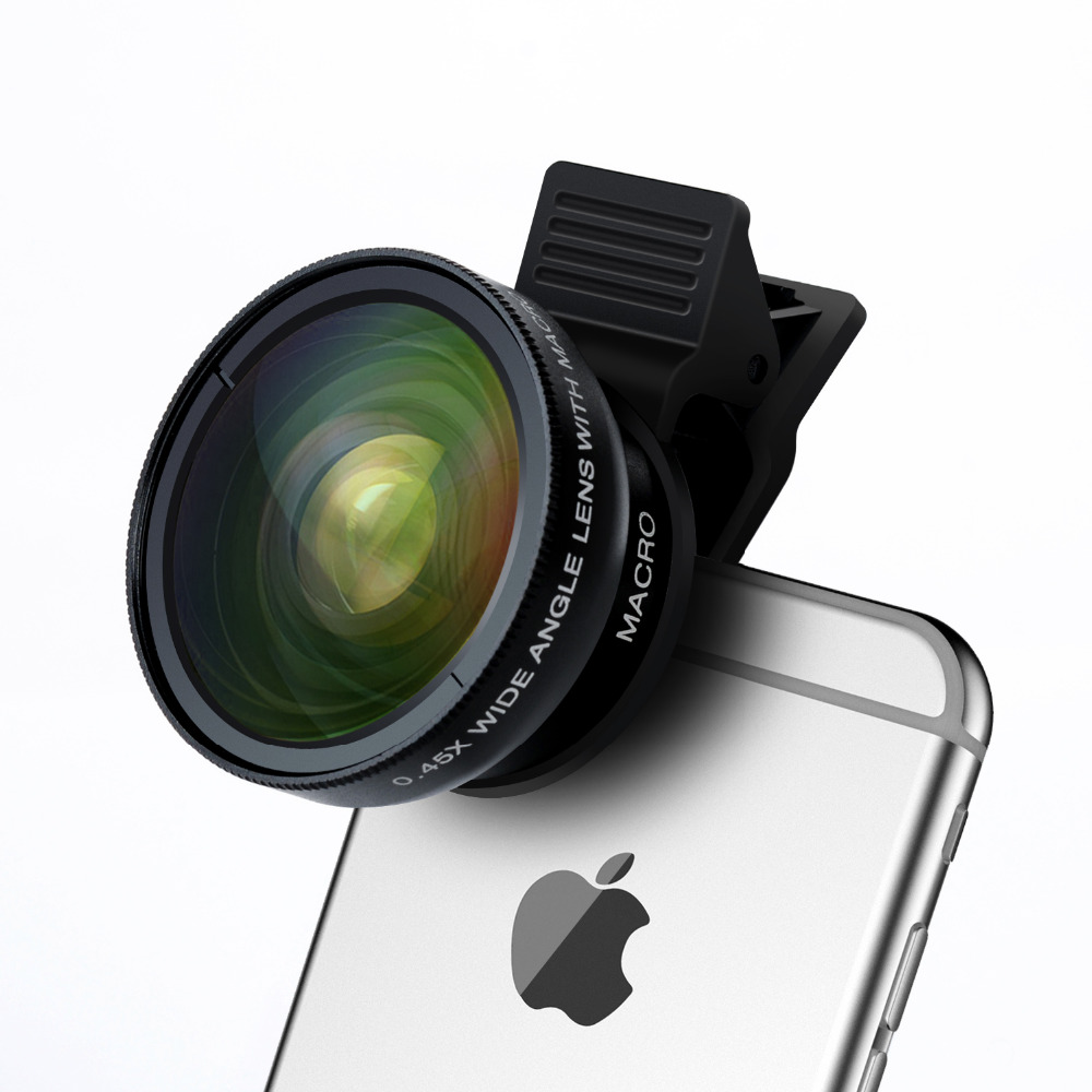 Turata Phone Lens, 2 in 1 HD Camera Fisheye Lens [0.45X Wide Angle + 12.5X Macro] Clip-on Kit Lens For iPhone 5 5S SE 6 6S 7 1