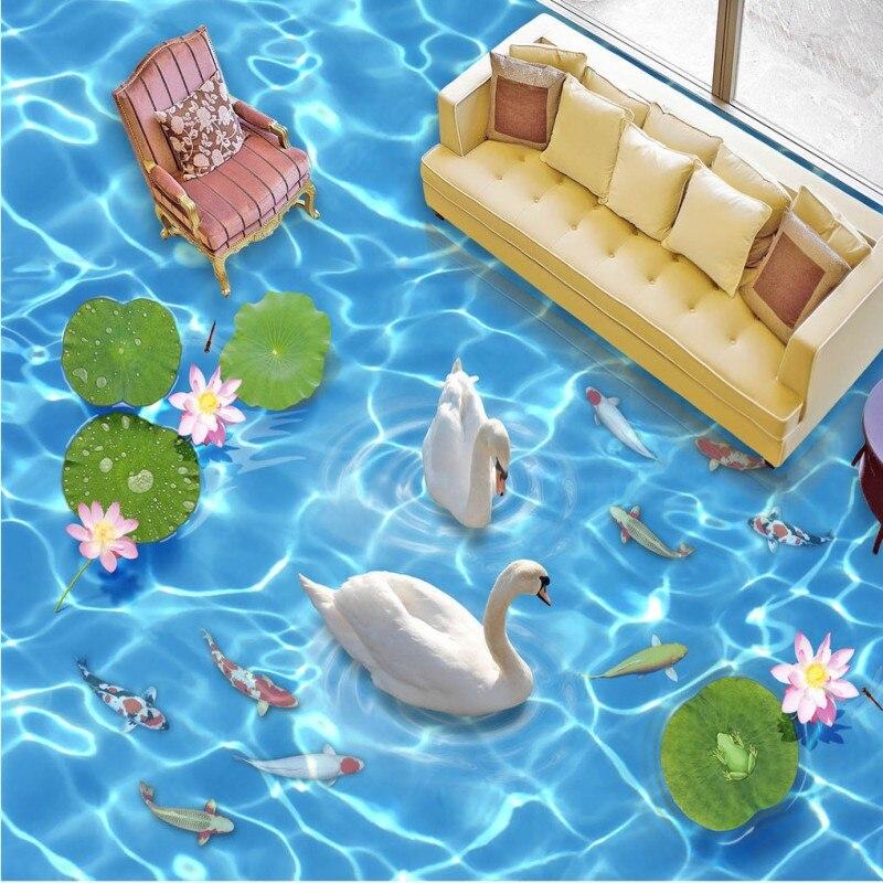 Free Shipping Clear blue waves Swan Lake 3D floor thickened waterproof bathroom living room bedroom lobby flooring mural<br>