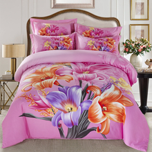 3D Blooming Flowers Lily Bedding Set Queen King Size Bed Sheets Duvet Cover Brushed Cotton Fashion Design Bedroom Textiles 4pcs
