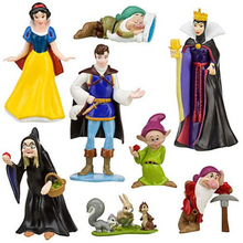 New Princess Doll Snow White Dwarfs Prince Queen Witch Pet Rabbit Squirrel PVC Action Figure Toys 8pcs/set Cake Dolls For Girls