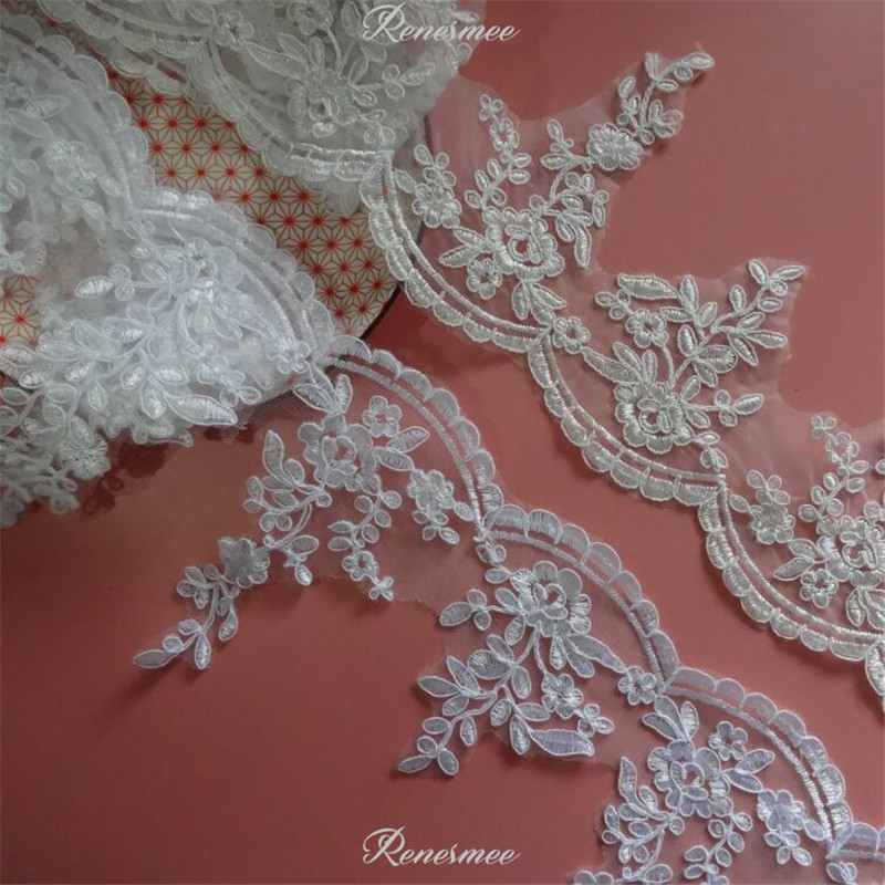 Ivory Beaded Sequin Embroidered  Applique Sewing//Costume//Crafts//Victorian//Bridal