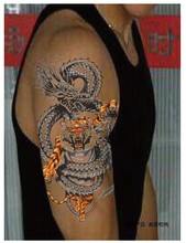 2pcs 2014 hot Enter the Dragon large tattoo stickers men Arm wrist chest back leg Big  3d Temporary Tattoo stickers