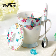 YeFine Cups And Mugs Ceramic Top Quality Bone China Coffee Mug Quality Goods Gold Plating Porcelain Cup Fashion Design Drinkware(China)