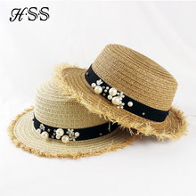 HSS Hot Sale+Flat top straw hat Summer Spring women's trip caps leisure pearl beach sun hats M letter breathable fashion flower(China)