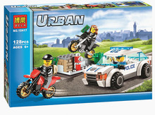 128pcs High Speed Police Chase Set Car Motorbikes Building Bricks Toy Gift Compatible With Lego City 60042 Block