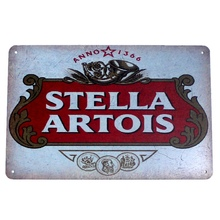 "Plaques & Signs "" Stella Artois"" Vintage Metal Tin Signs Retro Tin Plate Sign Wall Decoration for Cafe Bar Shop 20*30cm(China)"