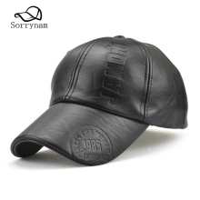 Leather Baseball Cap Winter Logo Dad Hat for Men Black Snapback Warm High Quality Product Trucker Bone(China)