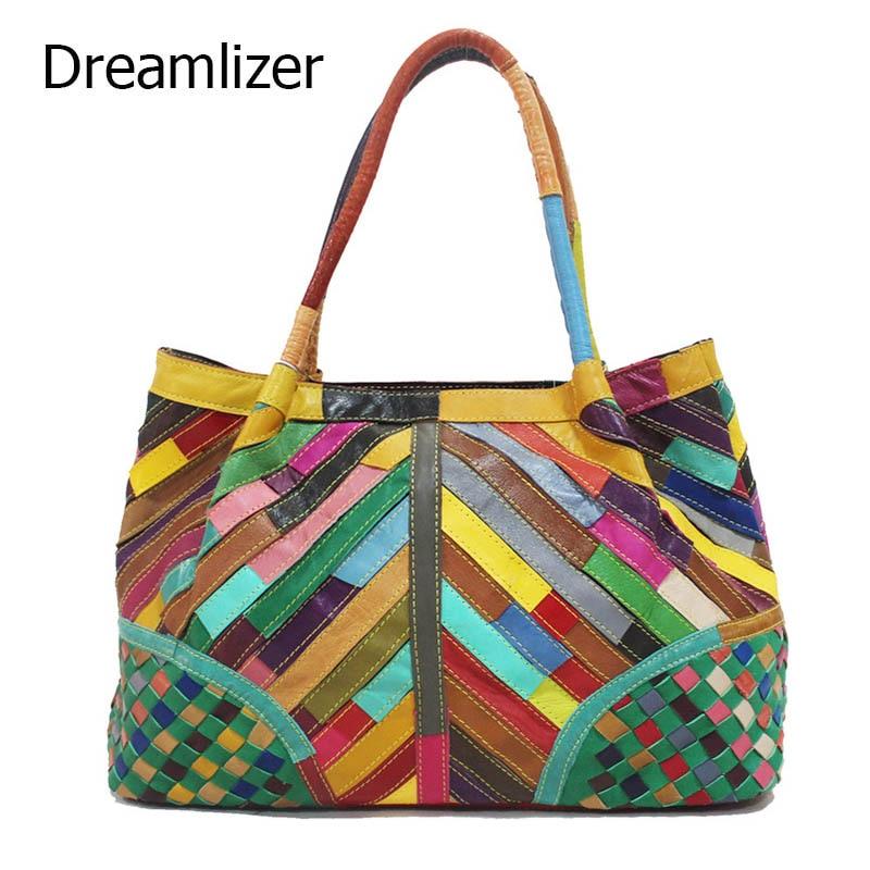 Dreamlizer Cowhide Leather splicing Womens Shoulder bag large Genuine leather Hobos Bag Women Leather Handbags Female Totes <br><br>Aliexpress