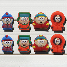 Free Shipping 8 pcs/set South Park Cartoon Shoe Charms PVC Figure Shoe Accessories Fit Bracelet Wristband for kid Promotion Gift