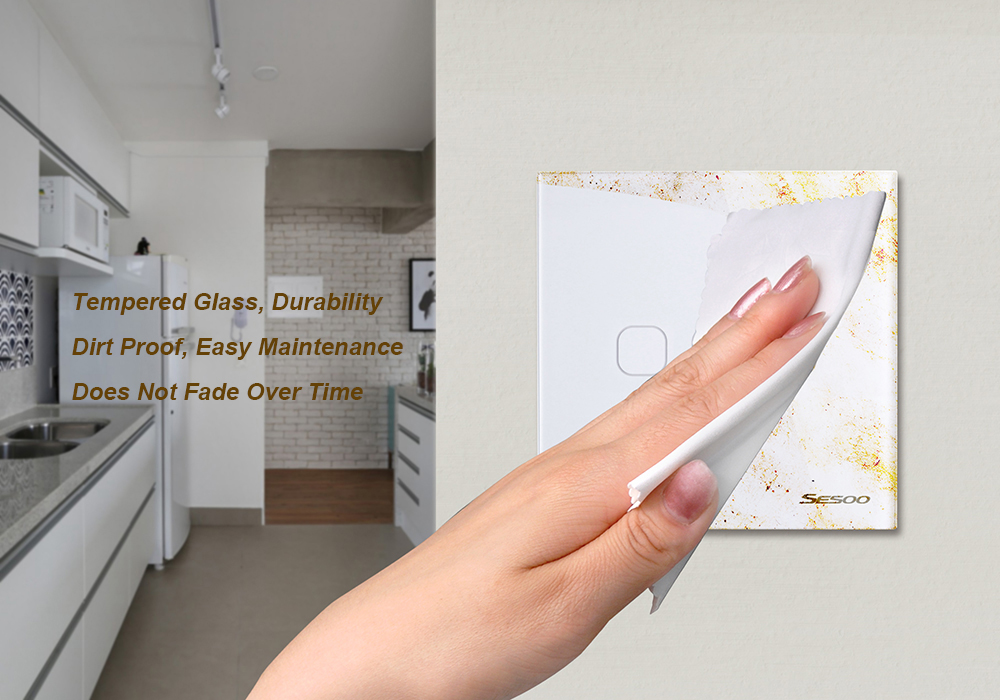 SESOO EU/UK Standard Touch Switch 3 Gang 1 Way Wall Light Touch Switch-Crystal Glass Switch Panel