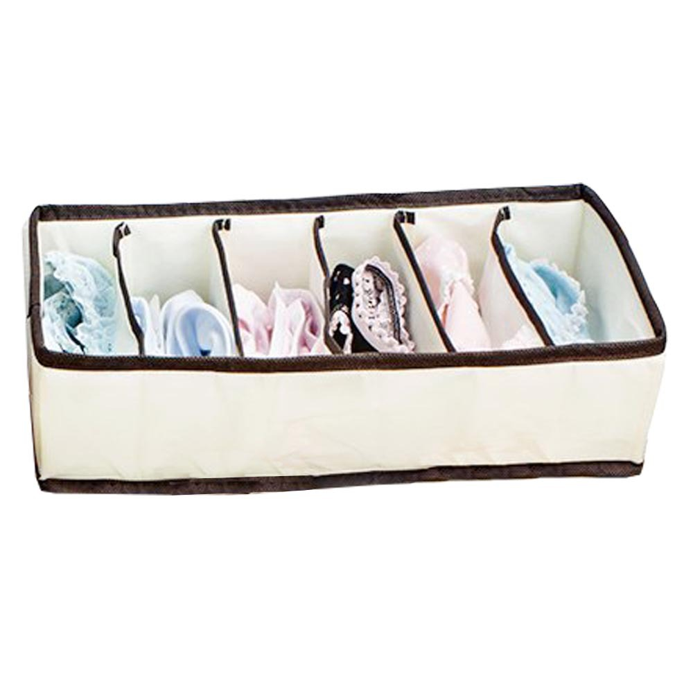 2015 Free Shipping Fashion beige Folding Storage Box Bag 6 Grid Pattern for Bra Underwear Necktie Sock clothing Organizer(China (Mainland))