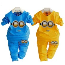 fashion baby garment kids clothing sets cotton Despicable me minion girl boy clothing children sport suit cartoon clothes