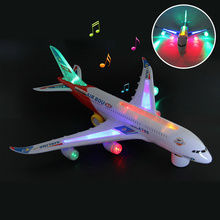 New Light Music universal air a380 Plane Model Flashing Sound Electric Airplane bus Children Kids Toys Gifts Automatic Steering(China)