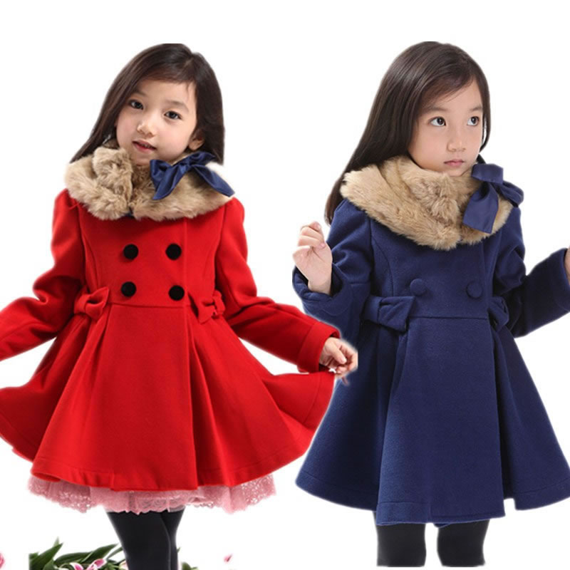 girl woolen overcoat woolen thickening outerwear trench medium-large child fur collar one-piece dress<br><br>Aliexpress