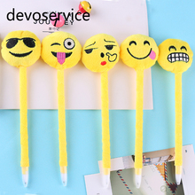 Kawaii Emoji Smile Ballpoint Pen Blue Ink Novelty Plush Ball Pens For Stationery School Supplies Canetas Escolar Material(China)