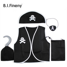 Children Kids Classic Pirate Costume Halloween cosplay costumes Skull Eye Vest Hat Blinder Hook Boys Girl Adult costume