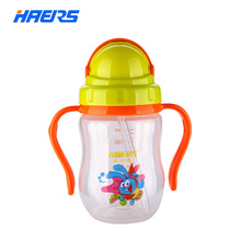 Haers Plastic Sippy Baby Bottle 180ml Baby Bottle with Straw Feeding Baby Bottle Cartoon Animal Baby YPP-6-4(China)