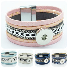 New Fashion SG0133 Light color Beauty leather multi layer snap Bracelets bangle Magnetic buckle fit 18MM snap buttons wholesale