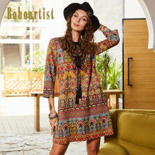 Bohoartist Women Folk Custom Dress Geometric Print Embroidery A Line Tassel Strap Up Ladies Bohemian Tribal Decoration Dresses(China)