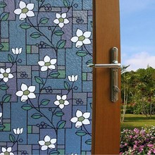 Opaque Flower Stained Glass Window Film Colorful Flower Glass Stickers Decorative Bathroom Sliding door
