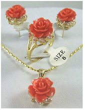free shipping>>> beautiful gold plate rose coral flower Pendant Earring Ring set AAA style 100% Natural stone Noble Fine jewe