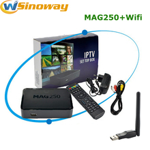 10pcs Linux IPTV box mag250 Set Top Box support Wifi usb connector, Cable Not include IPTV account Mag 250 tv box