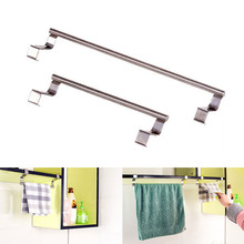 1Pc Stainless Steel Over Door Hook Towel Bar Rack Holder Kitchen Hanging Storage Rail Drawer Cupboard Cabinet Cloth Hanger(China)