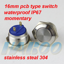 10pcs/lot IP67 16mm PCB or screw type momentary metal stainless steel push button switch
