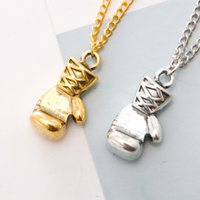 free shipping 6 pcs/ lot fashion jewelry accessories metal vintage boxing glove pendant necklace(China)