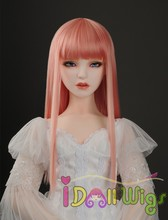 Hot selling synthetic straight basic pink slight orange BJD doll wig with full bangs 1/3 1/4 1/6 for choice