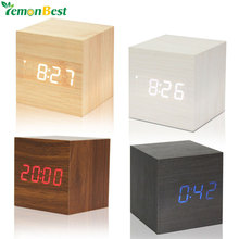 Wooden LED Digital Alarm Clock With Thermometer LED Display Temp Date Calendars Electronic Desktop Digital Table Clocks For Gift