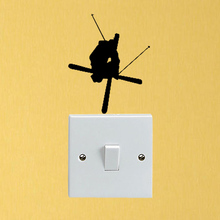 Skier Crossing Skis Fashion Vinyl Light Switch Decals Wall Stickers Decor 5WS1483
