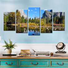 Drop-shipping 5 Pieces Wall Art Canvas Paintings Blue Sky Lake Trees Mountains Secnery Pictures for Living Room Home Decor