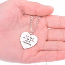 "Buy ""Sisters Make Best Friends"" Charms Silver Pendant Necklace Chain Gift Family Women Mother's Day Infant Loss Jewelry for $1.05 in AliExpress store"