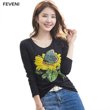 Autumn 2017 Long Sleeve Beading Sunflowers Butterfly T Shirt Fashion Round Neck Tshirt Women T-Shirts Tops Tees Y03313