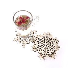 1PCS Wood snowflake pad coaster kitchen christmas placemat table mat decorations for home cup drink mug tea coffee drink(China)