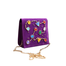 Female brand Luxury handbags for women Vintage Velvet Clutch Bag with Colored gemstones Beautiful party bag chain shoulder bag