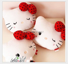 adamant ant 23*20cm Sweet Pink Polka Dots Bow Hello Kitty Plush Neck Pillow Car Neck Pillow Auto Accessories KCS