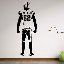 Wall art Football Wall Decal Decor Custom jersey name and number Vinyl sticker american football bedroom personalized football v