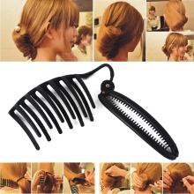 Women Black Elegant French Hair Twist Maker  Updo Bun Comb Clip DIY Hair Styling Tools