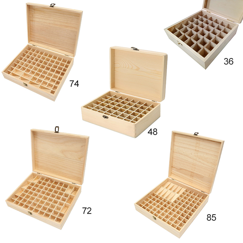 Solid Wood Essential Oil Bottle Storage Box Oversized Model Multiple Compartments Natural Essential Oil Display Case 3