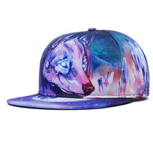 High Quality Wolf Animal Colorful Heat Transfer Snapback Caps Hats Polyester Baseball Cap Hat Gorras