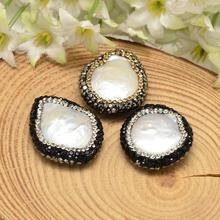 Keshi Pearl Nucleated Pearl Beads, with Polymer Clay Rhinestone, White, 23~26x21~25x6~7mm, Hole: 1mm