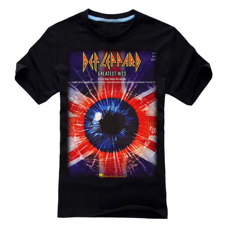 14 designs vintage British flag Def Leppard Brand t shirt Cotton ropa Punk fitness heavy Metal Black shirts Rock camiseta